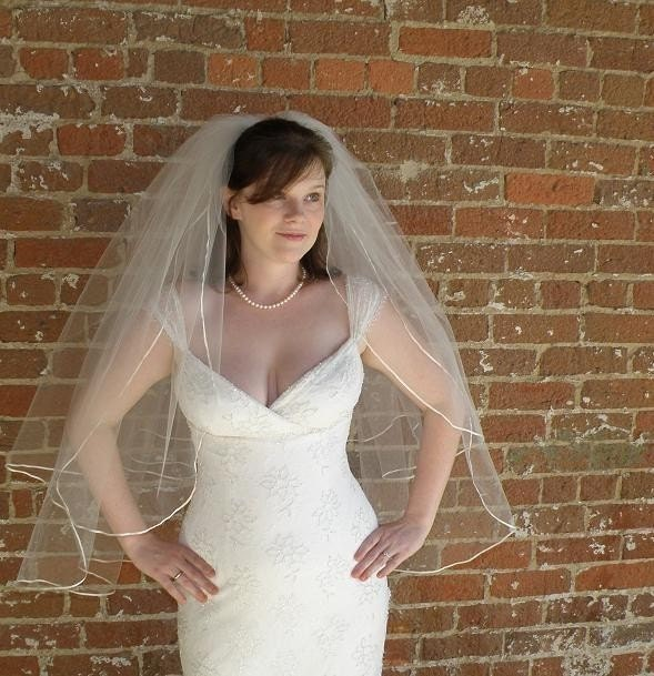 Forget-me-not  30x36 wedding veil - 2 layers with tiny satin ribbon