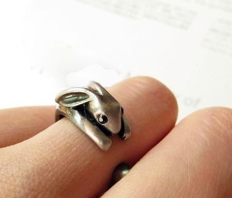 super cute silver little rabbit ring bunny (gift box package )