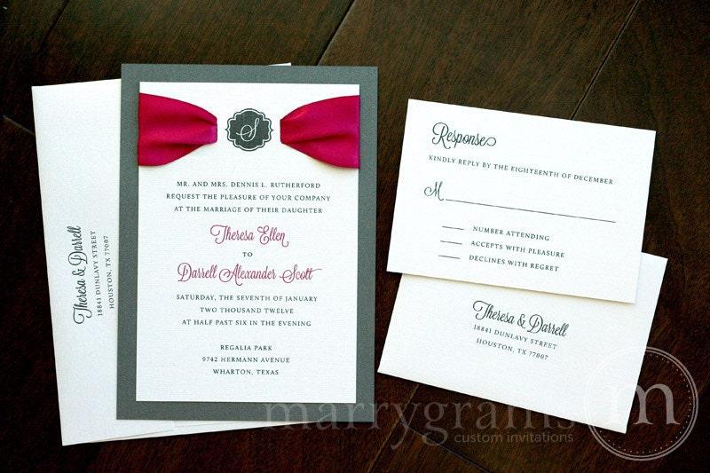 Unique Hot Pink Gray Wedding Invitations Satin Ribbon w Monogram Hot Pink