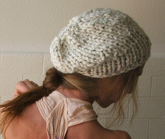 cream flecked chunky hat