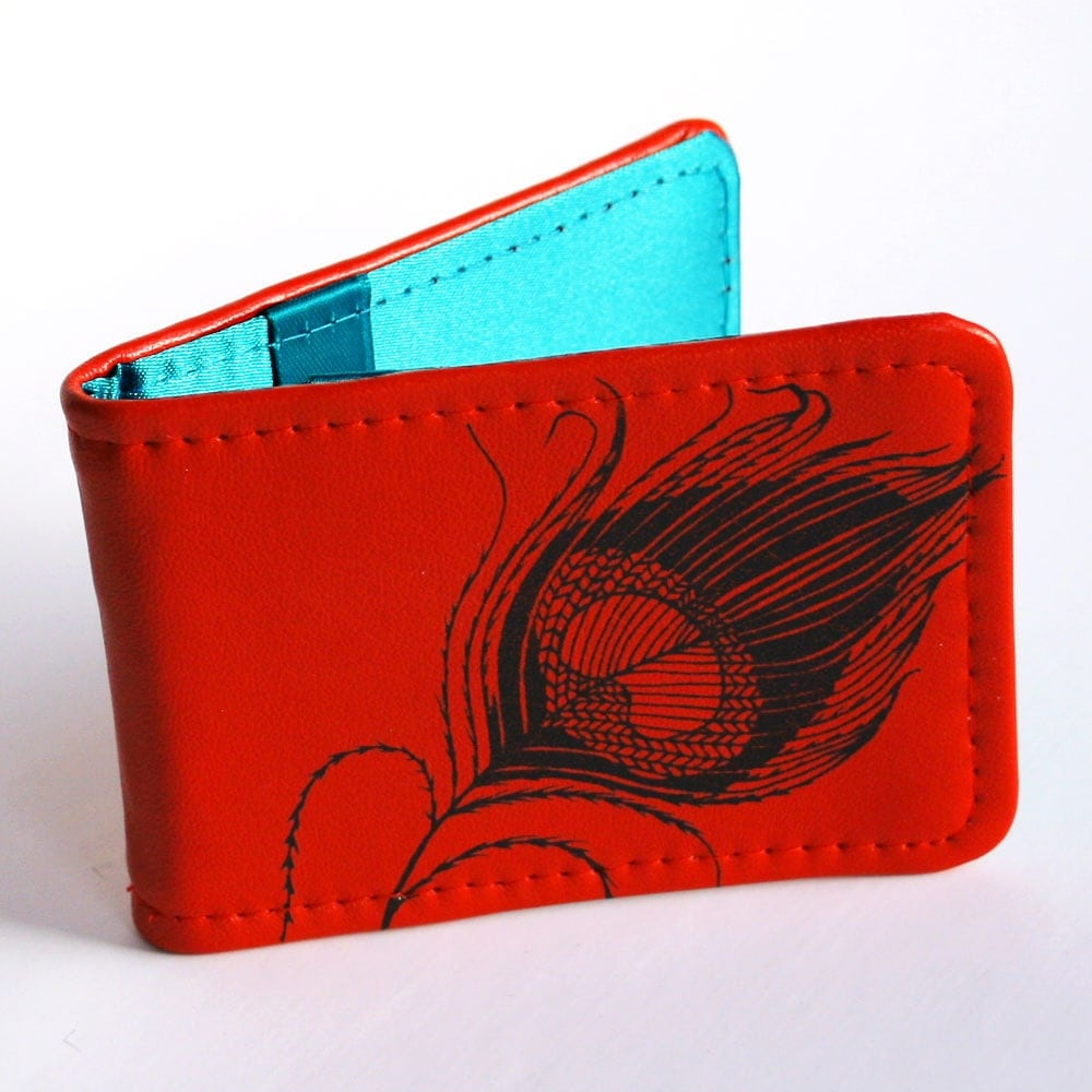 Red Leather Peacock Feather Card Holder (Handcrafted & Handprinted)