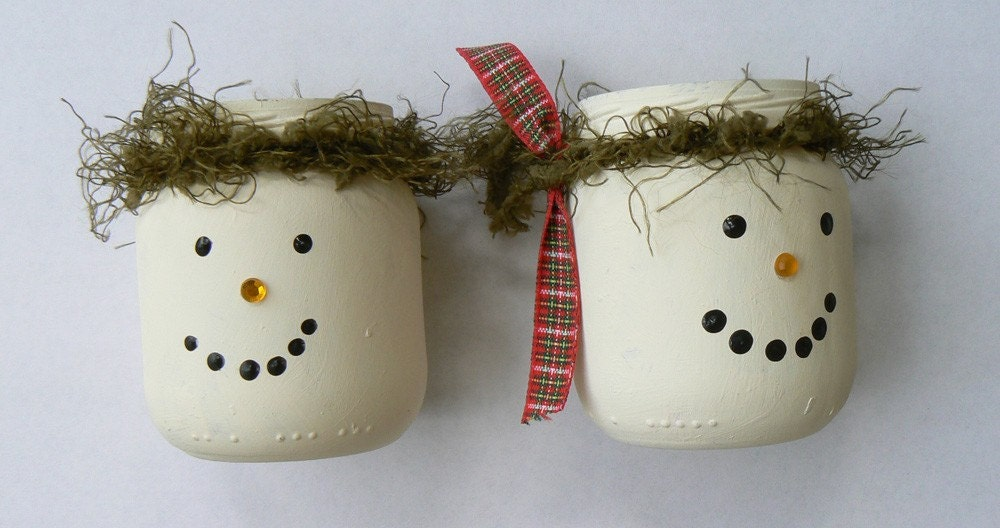 Snowman Luminaries from baby food jars