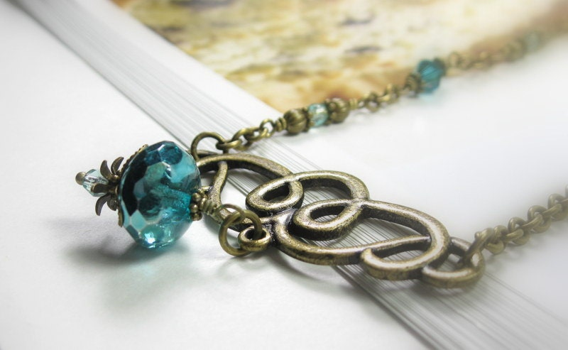 Aqua Ice, Czech Glass, Vintage Style Necklace