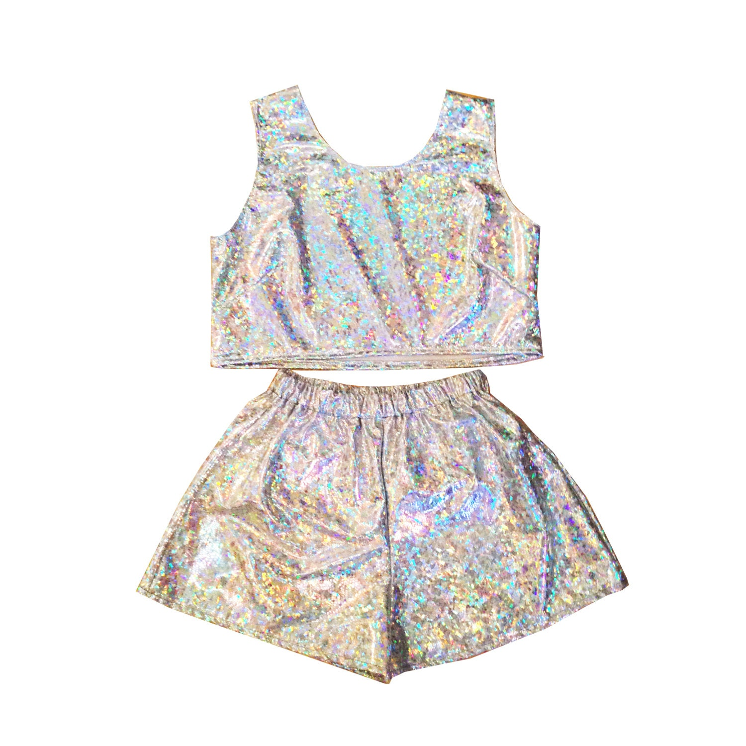 Holographic Top and Shorts Two Piece CoOrd Summer Festival Beach Party Irridescent Sparkle Twin Set