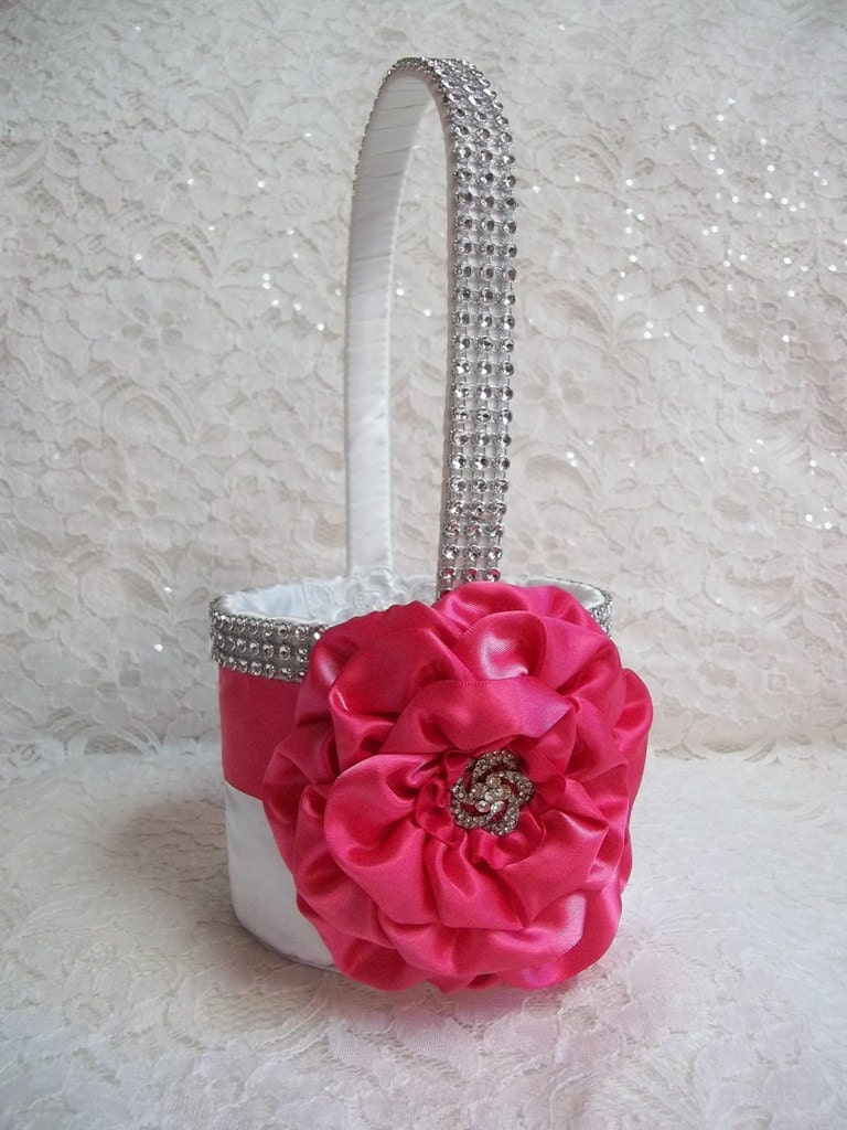 Hot pink flower girl baskets hot pink flower girl basket wedding hot pink flower girl baskets hot pink flower girl basket with lots of bling by mightylinksfo Images