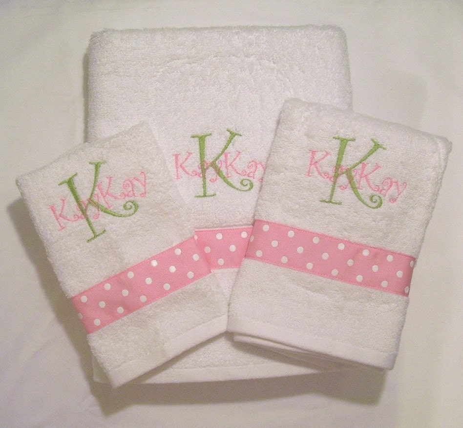 Girls Personalized 3 Piece Towel Set....Design your own