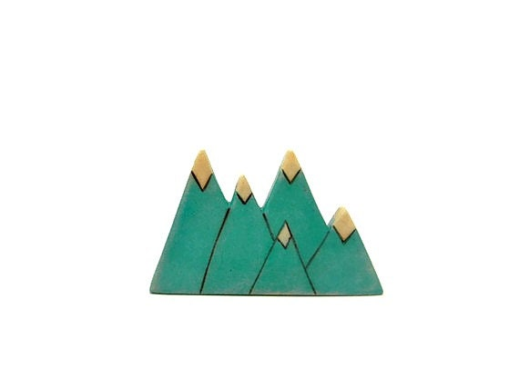 teal green triangle mountain wooden brooch - outsideeverywhere