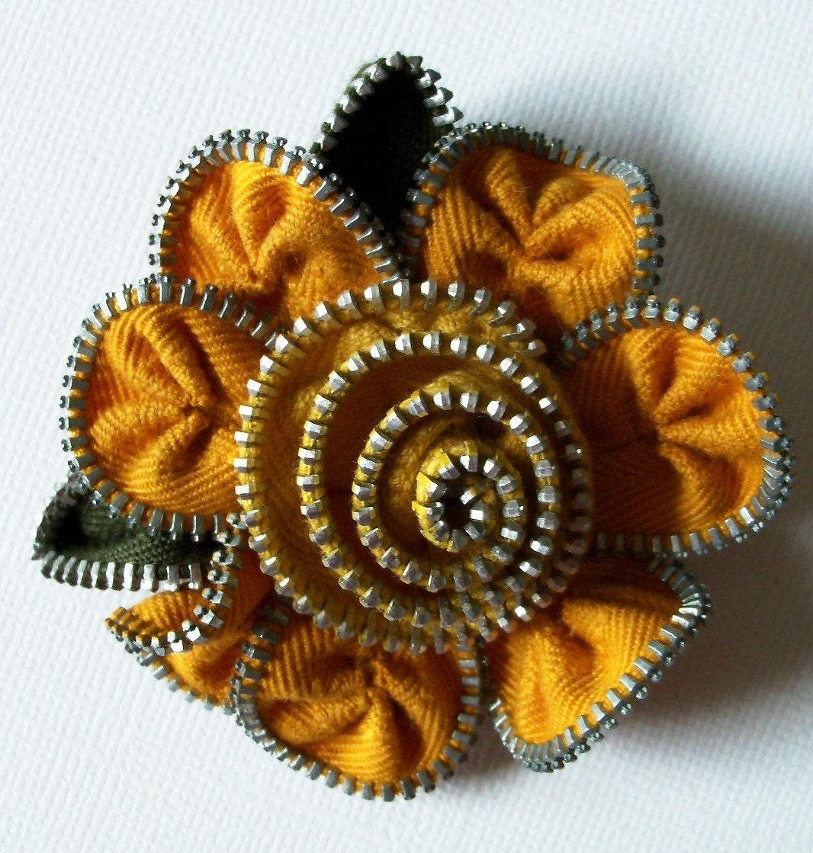 Mustard and orange zip brooch, via Etsy: ZipPinning