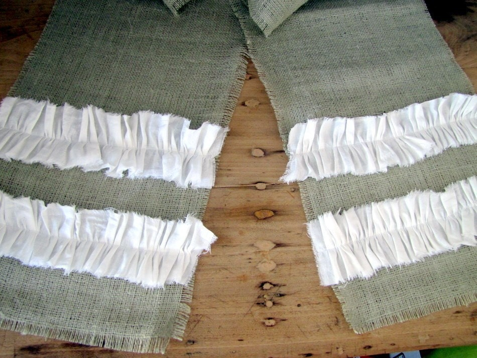 SHABBY CHIC RUNNER -- green burlap table runner with white cotton ruffles