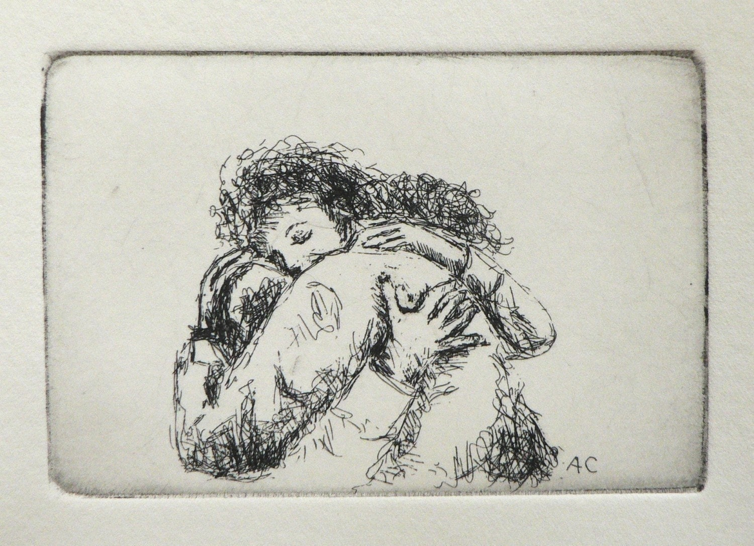 give someone a hug - original etching