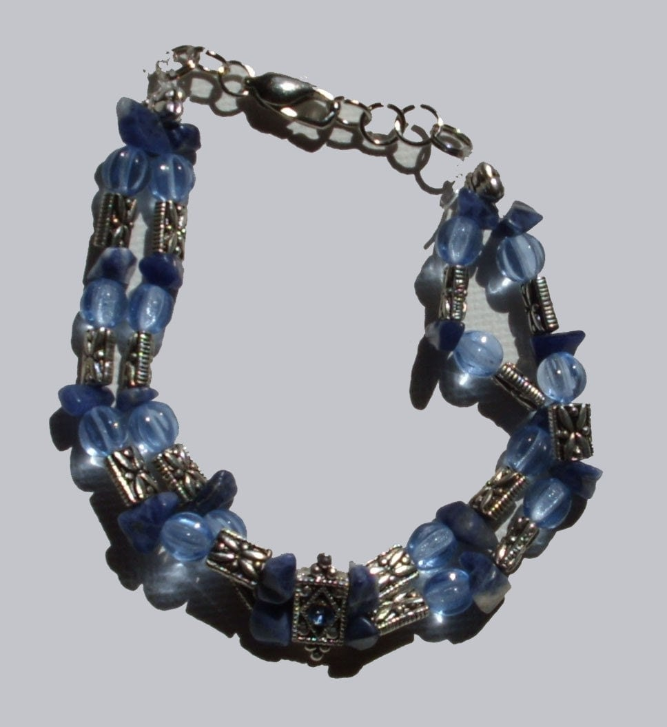 Double  Strand Blue/Silver Glass Beaded Bracelet