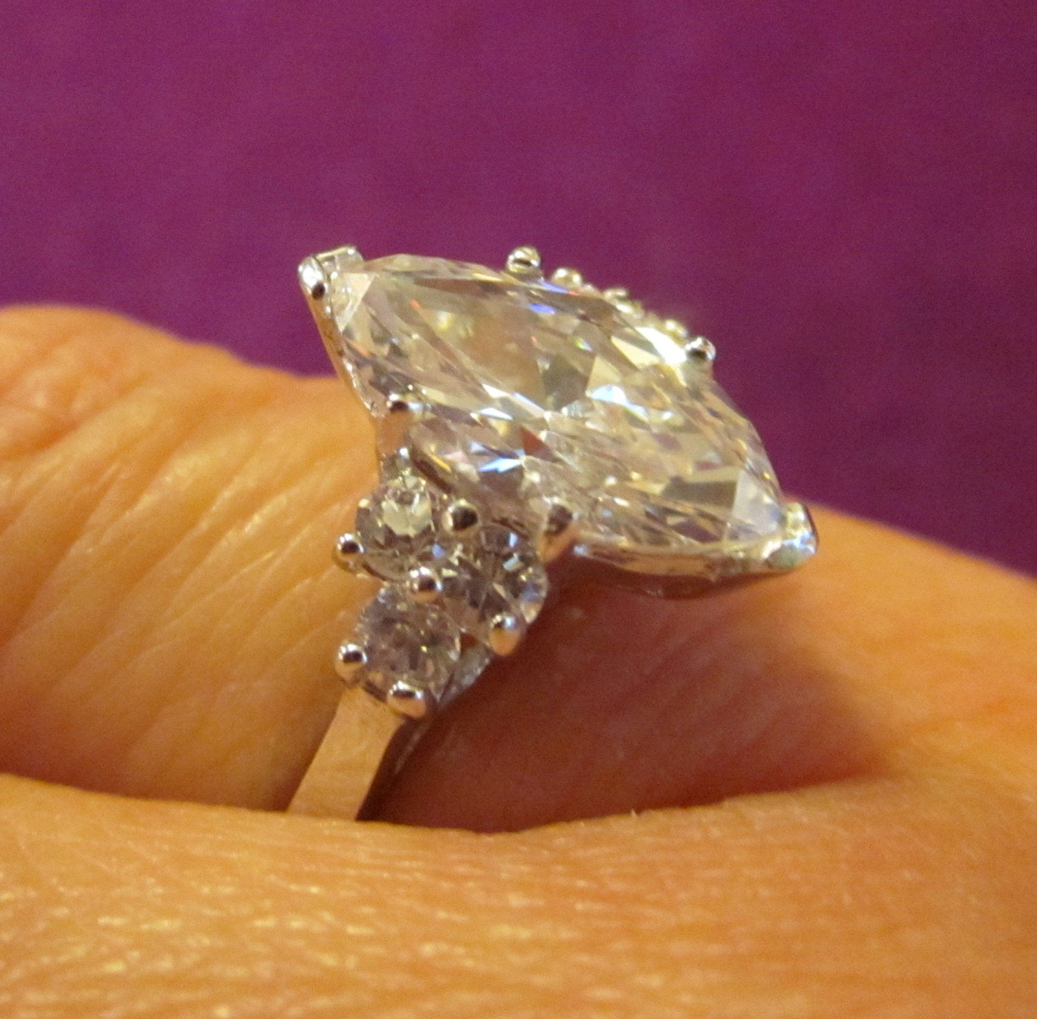 Vintage MARQUISE Diamond ENGAGEMENT ring by WhatCheerProvidence