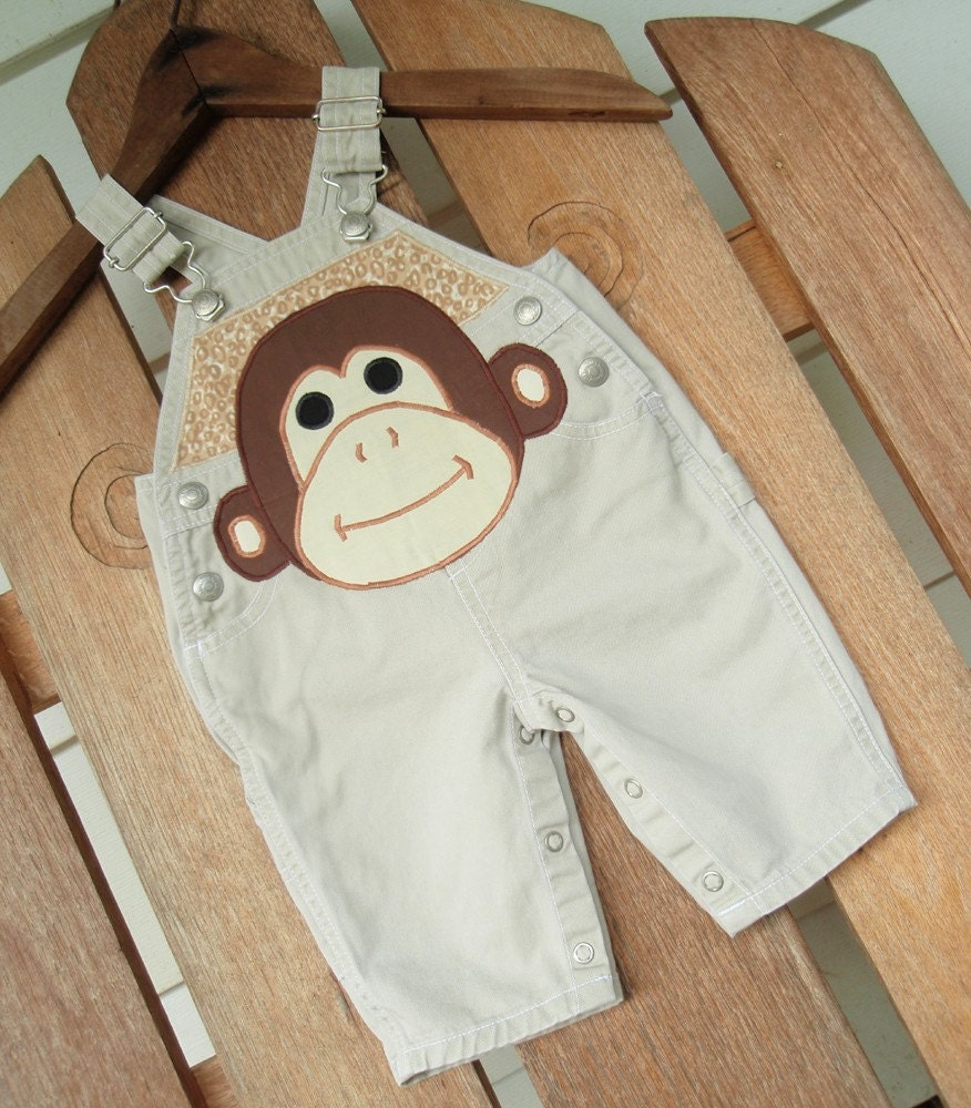 Monkey Applique Khaki Overall size 3 mo Ready to Ship Sale SewSoNancy Boutique