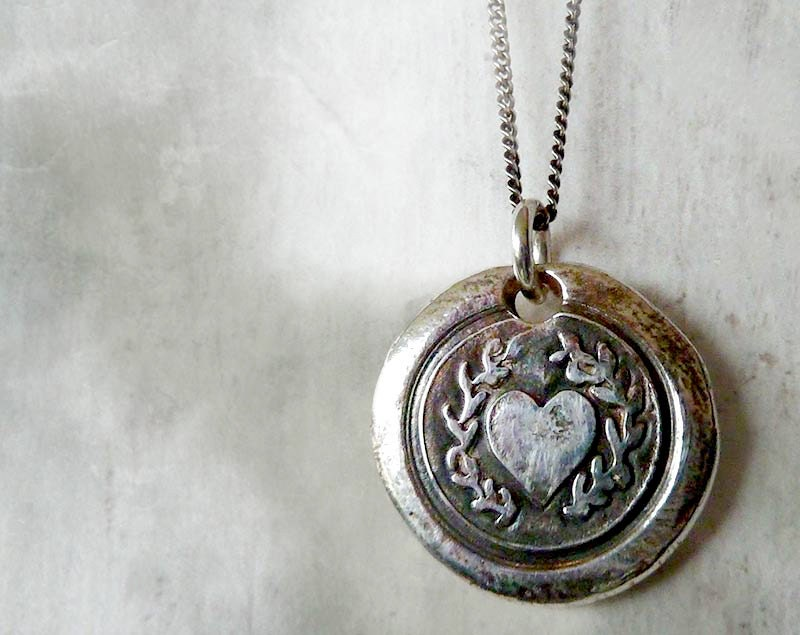 Laurel Heart. Wax Seal Necklace. Fine Silver Victorian Style.  Wax Seal Artisan Jewelry. Love Symbol. Sterling Chain - RenataandJonathan