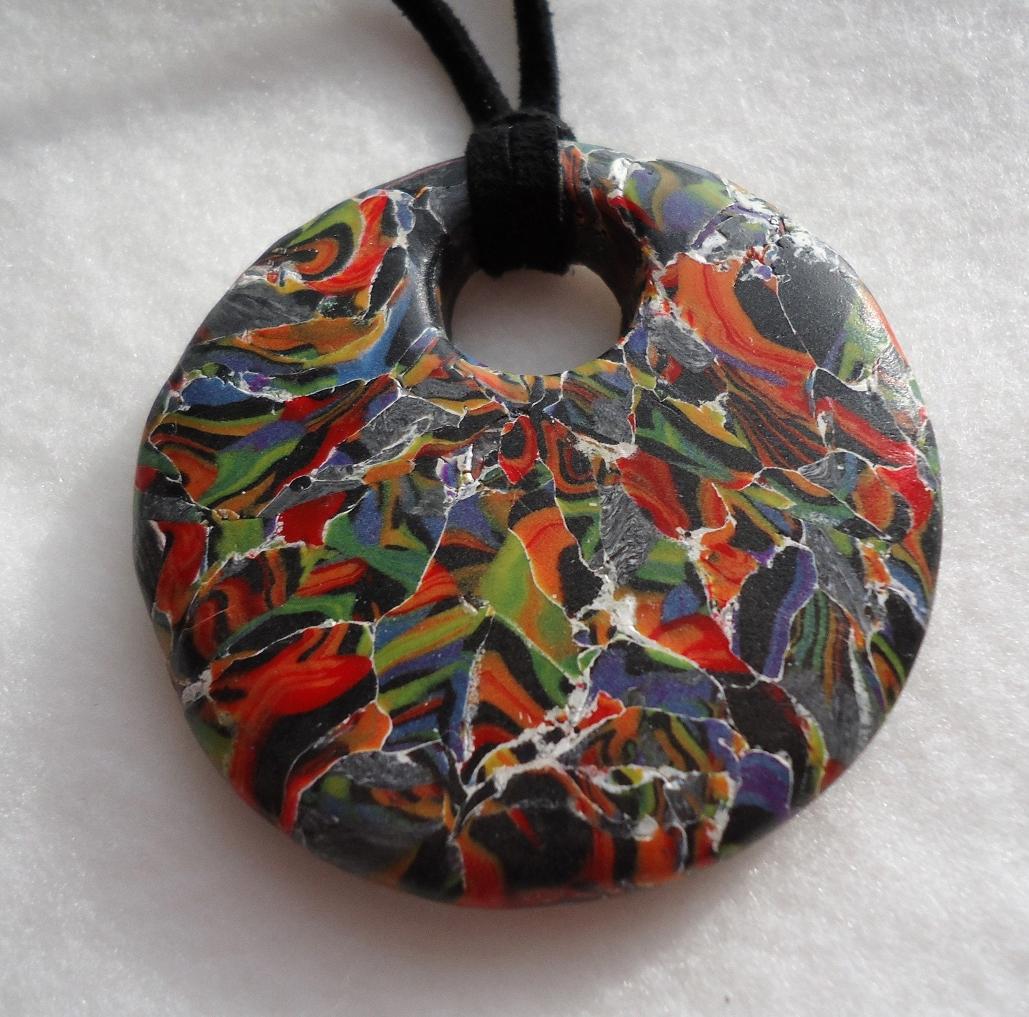 One of a Kind Handmade polymer clay pendant