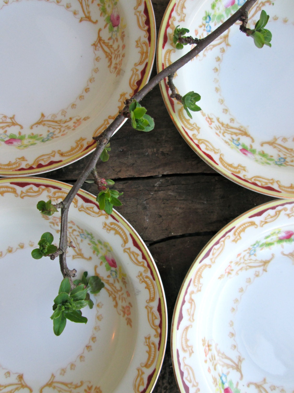 Cottage Floral Butter Pat  Dish / Berry Bowl / Registered USA Celebrate Japan Vintage Serving  Dinnerware housewares  shabby wedding gift - LemonRoseStudio