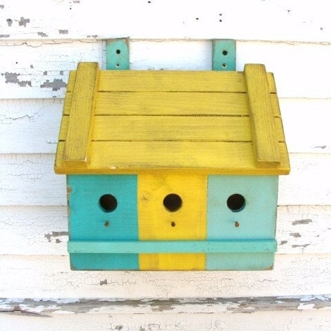 Birdhouse, Shabby Chic Cottage, Beach, Aqua Blue & Yellow