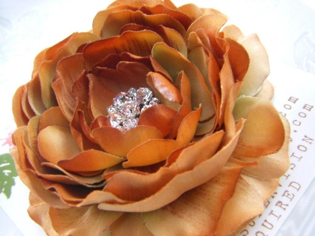 Beautiful AUTUMN ROSE Pumpkin Burnt Orange Hair Flower Clip for Girls and Women with Multi Swarovski Crystal Center -Perfect Portrait Accessory