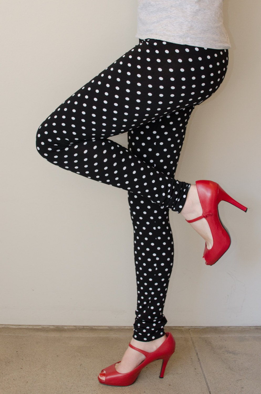 Polka Dot Black And White Printed Leggings By Kolouri On Etsy