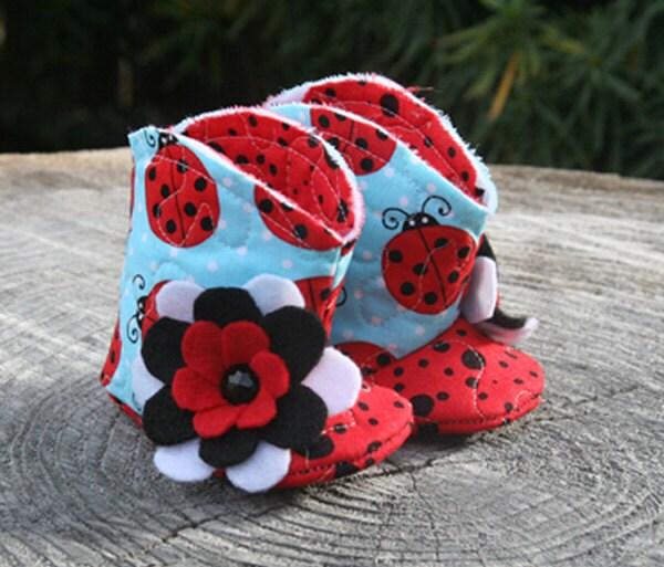 Baby Booties with Ladybug Print, Baby Boots - AveryleeKids
