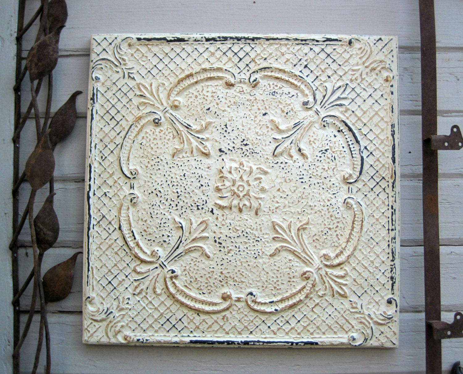 Framed 24x24 Antique Tin Ceiling Tile Circa By