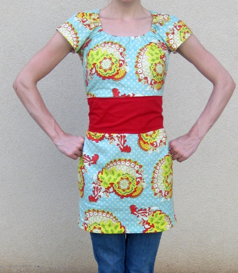 ON SALE tunic paisley bright retro red belted asain inspired retro XS S M L