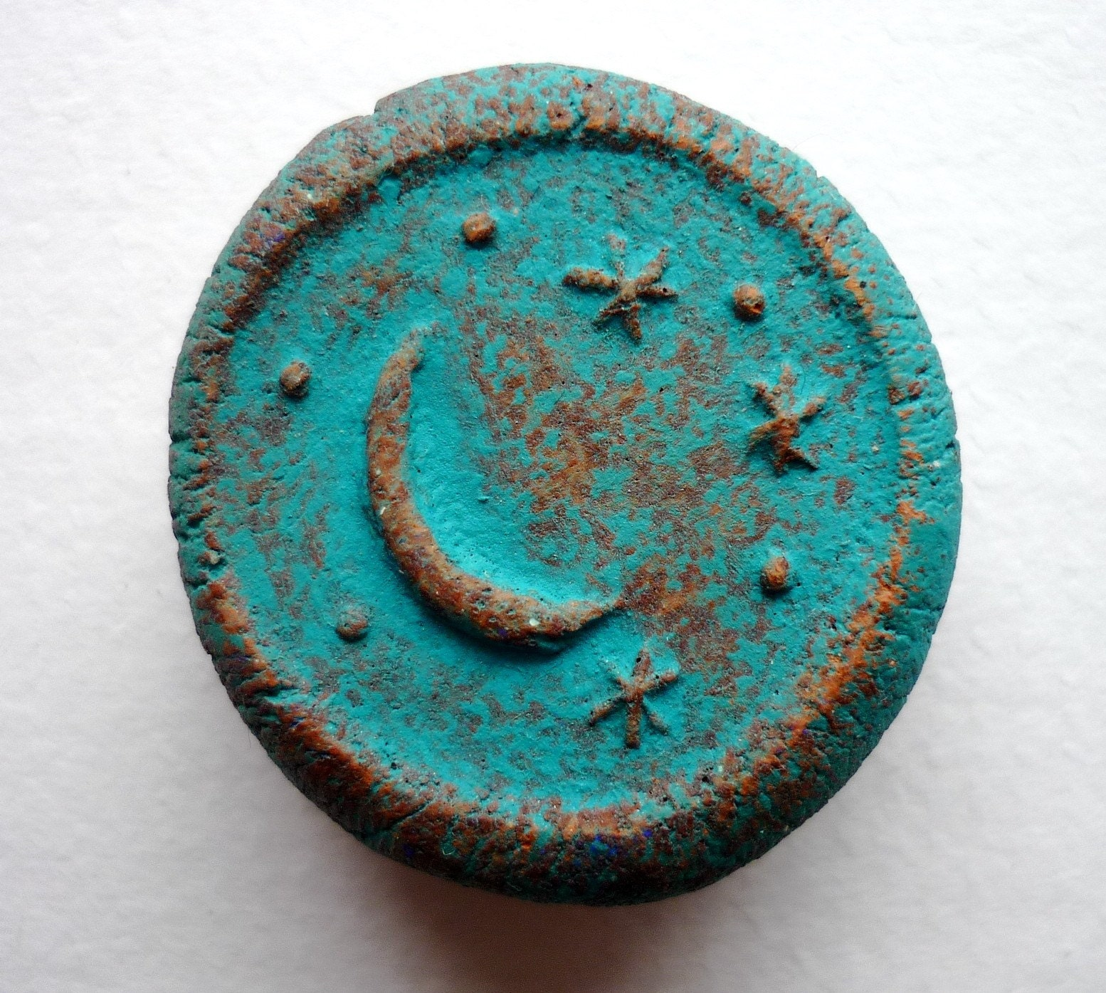Handmade clay magnet - Turquoise Crescent Moon and Stars