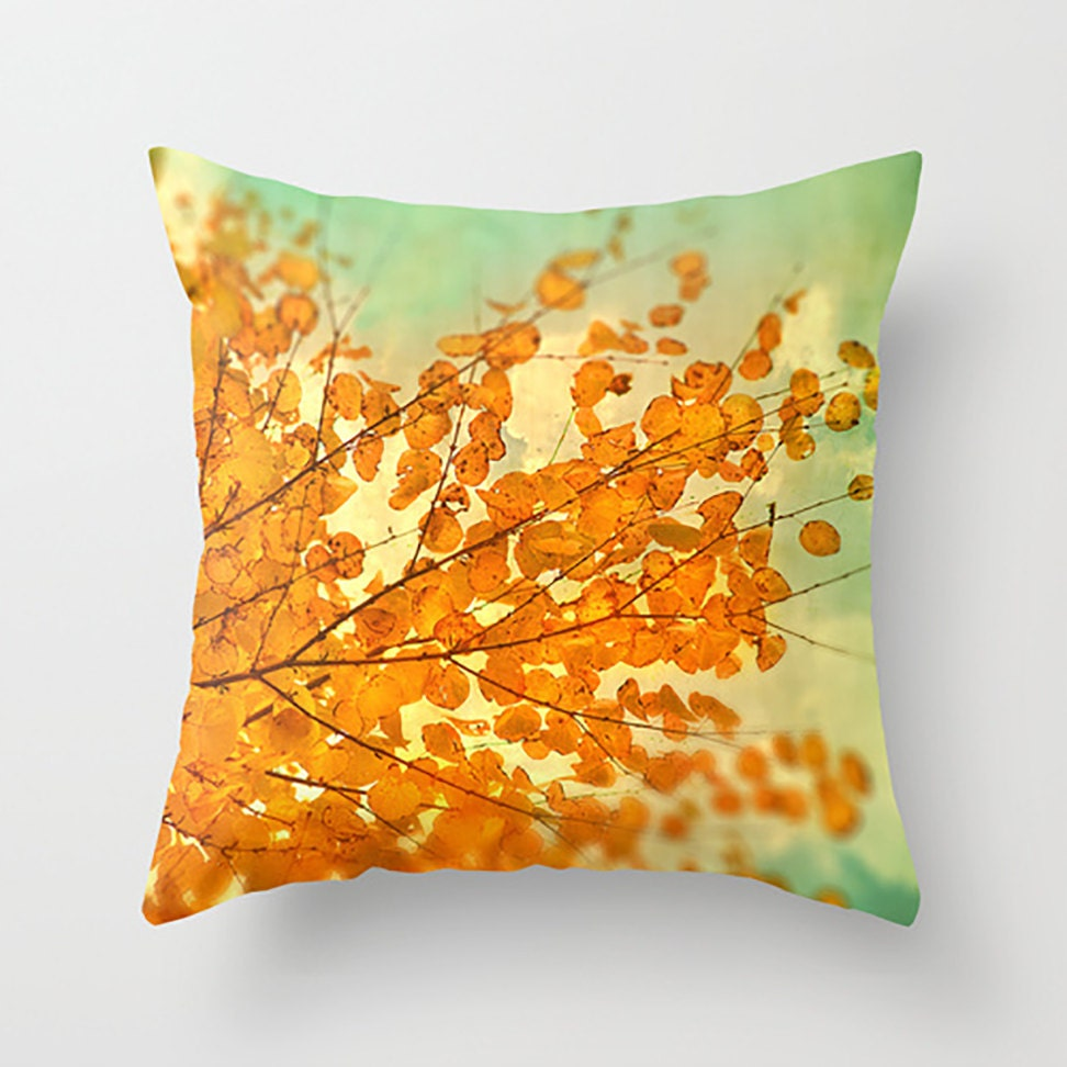 Decorative pillow fall tree autumn leaves plush pillow photo pillow throw pillow - HappyPillowShop