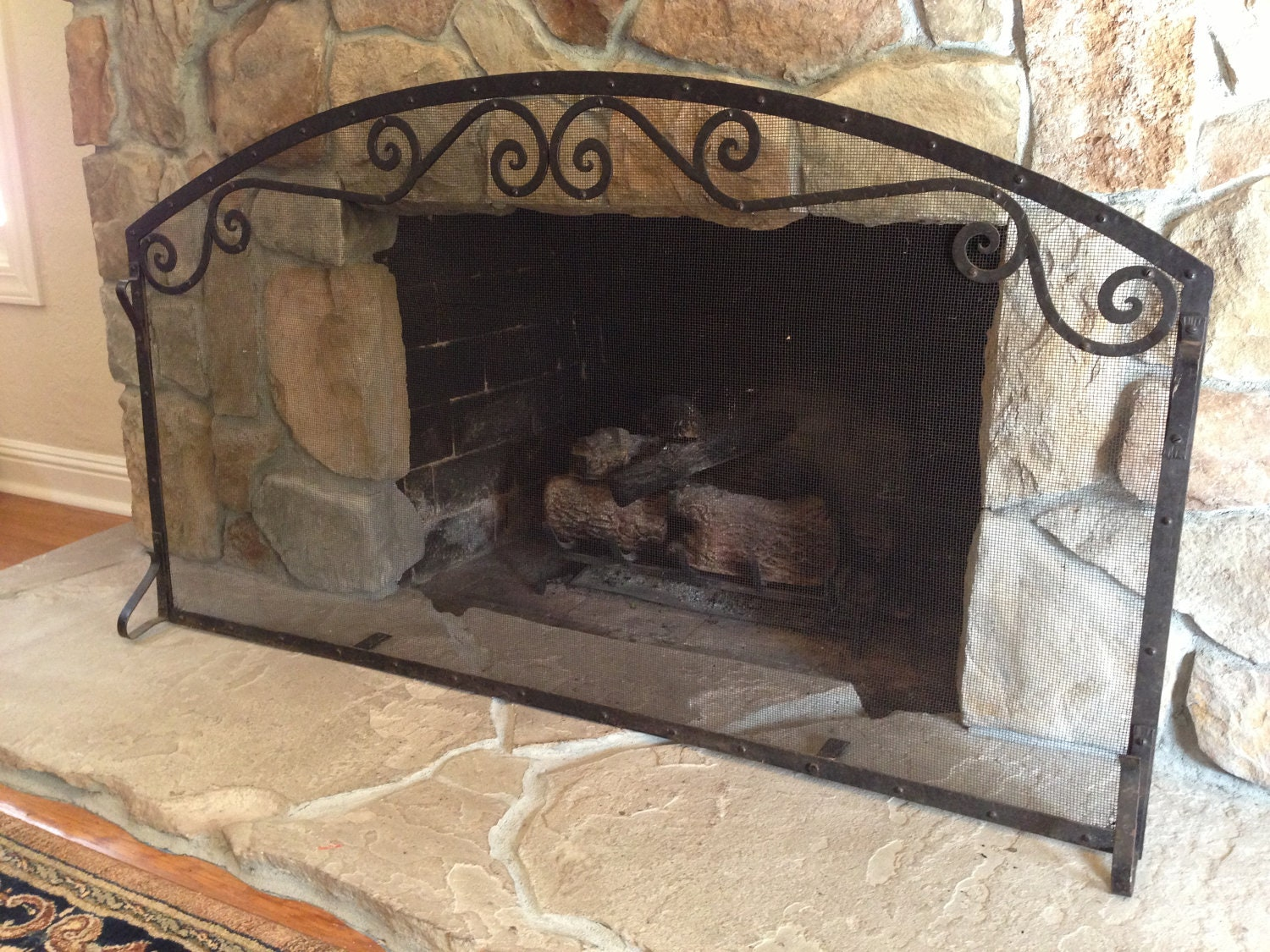 Custom Indoor Forged Iron Fireplace Screen