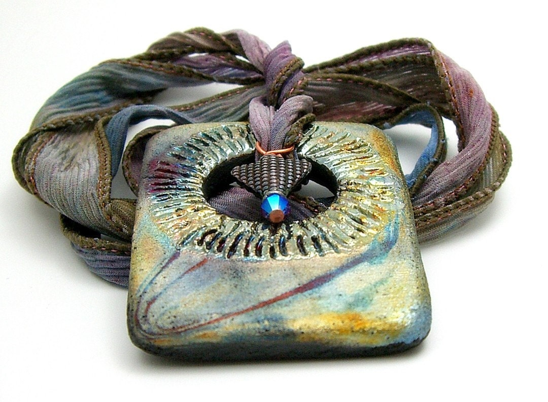 Ring of Fire Raku Pendant Raku  Ceramic Jewelry by MAKUstudio