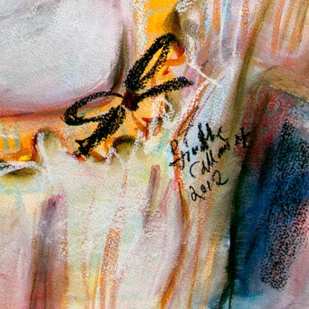 Women in Sheer Blouse CHANTALLE Original Watercolor and Pastel 18 by 24 inch by Ginette