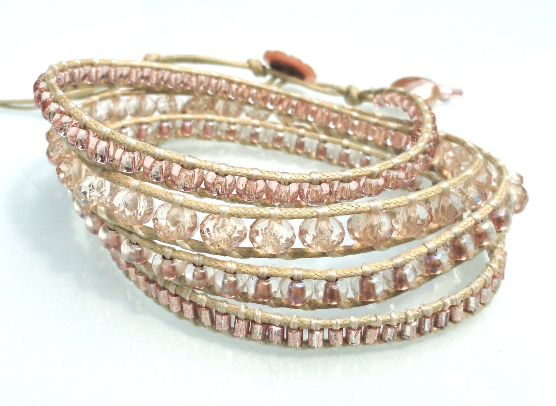 Champagne Toast - pale peach boho wrap bracelet. Chan Luu Style wrap.