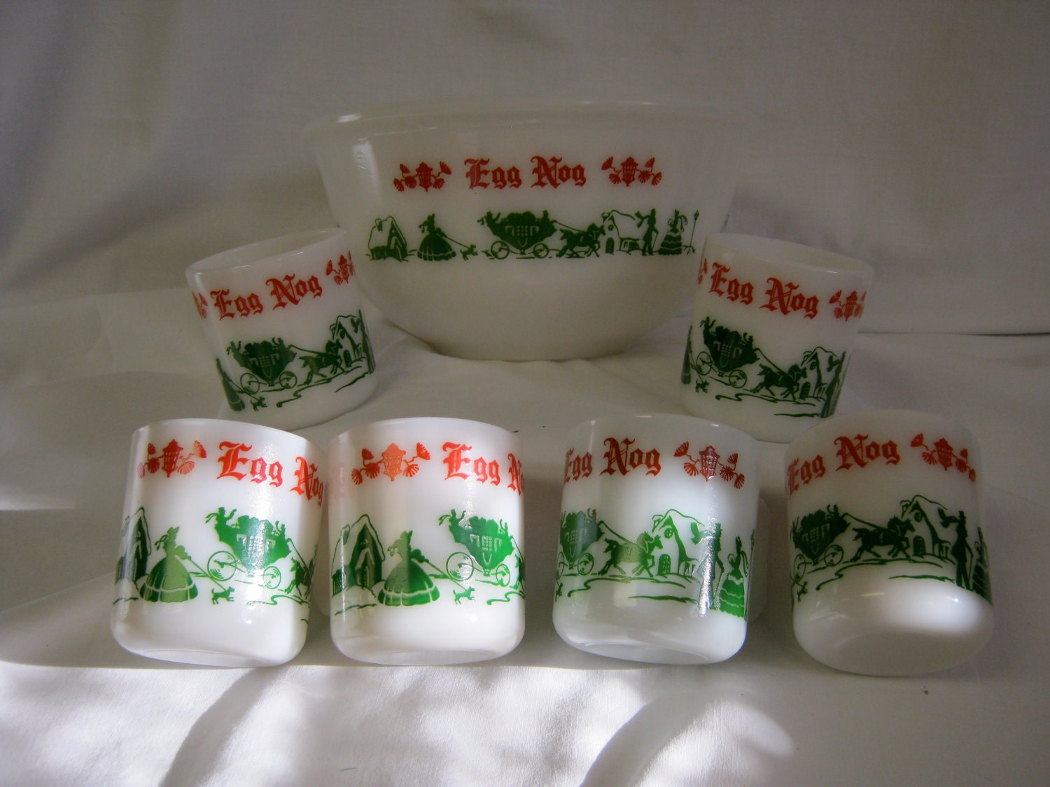 Anchor Hocking Egg Nog bowl and cups by DinysAttic on Etsy