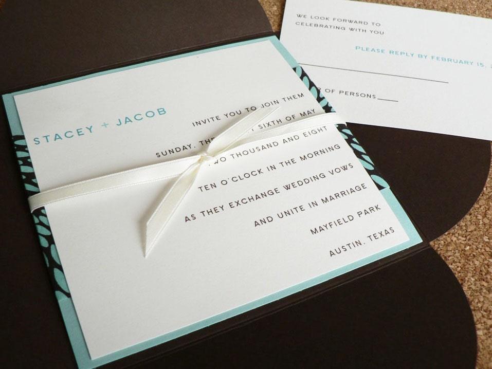 Wedding invitation set - Aqua and Chocolate petalfold