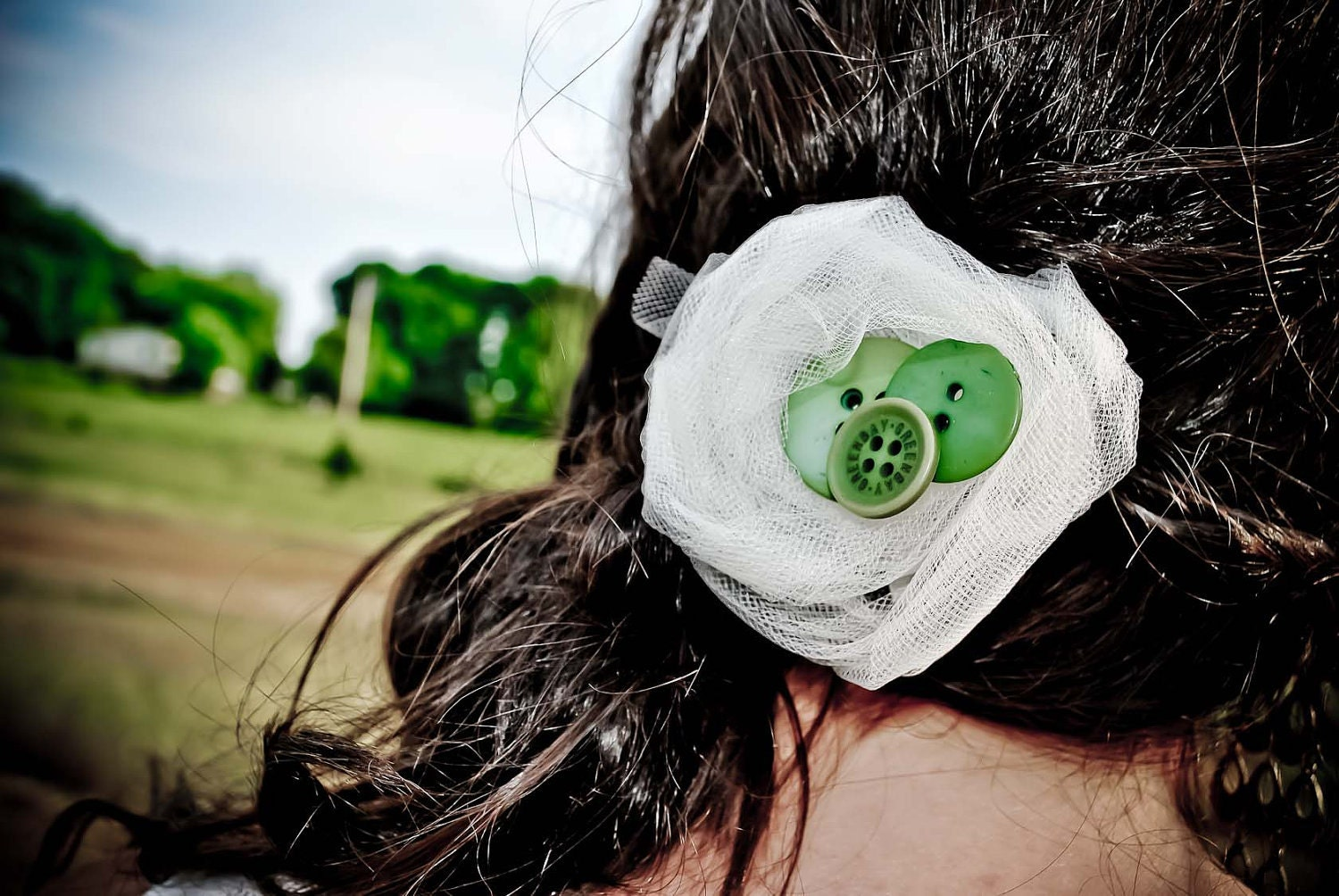 fabric flower hair clip with green buttons