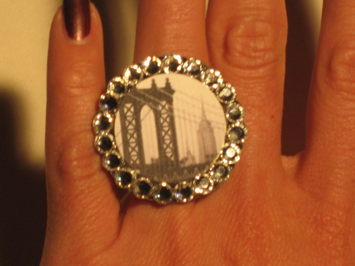 New York Black and White Swarvoski Ring