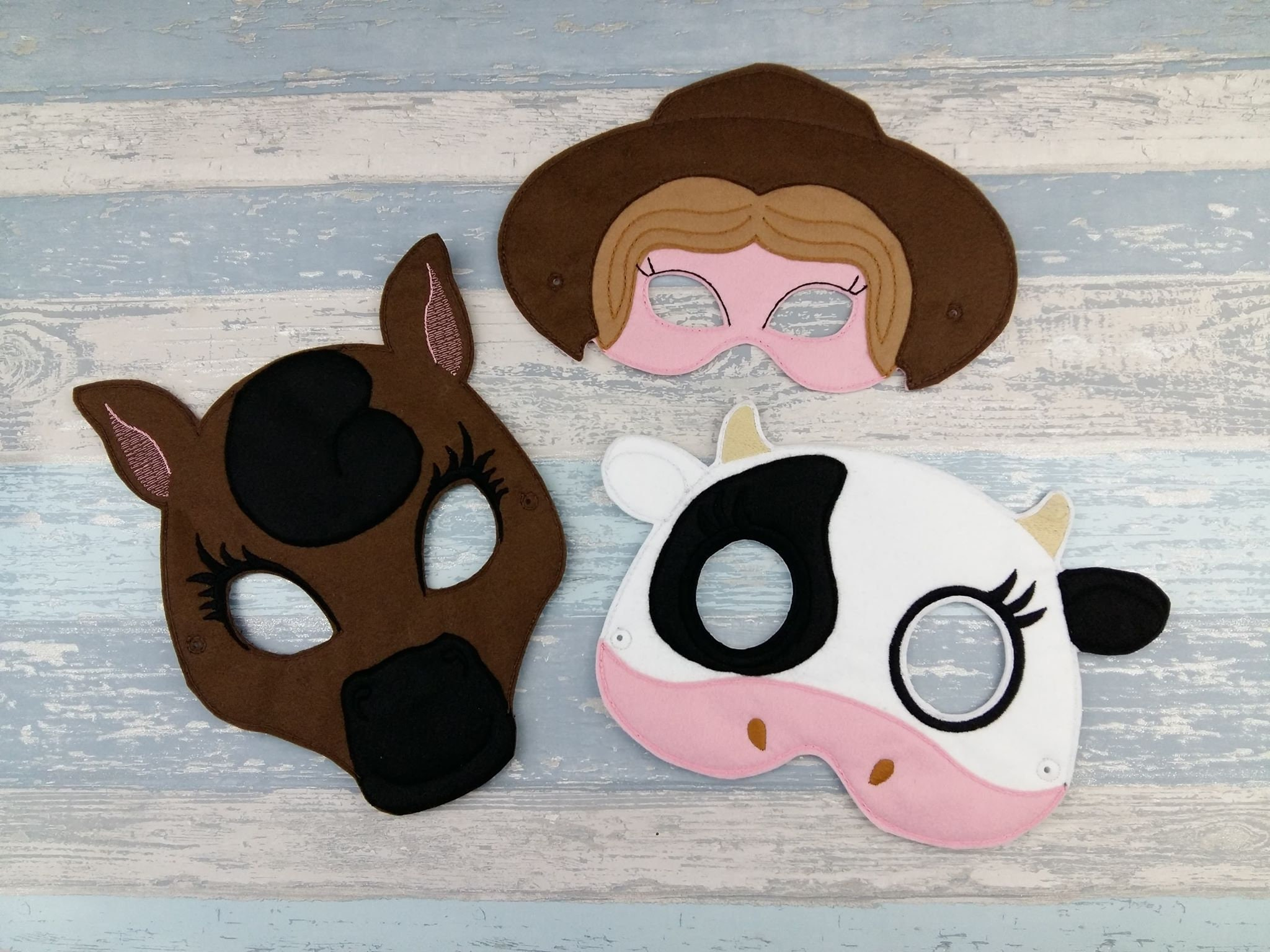 Farm Animal Mask Set Barnyard Felt Mask Old MacDonald Farm Farmer Farm Animal Masks Cow Horse Dog Sheep Halloween Animal Party