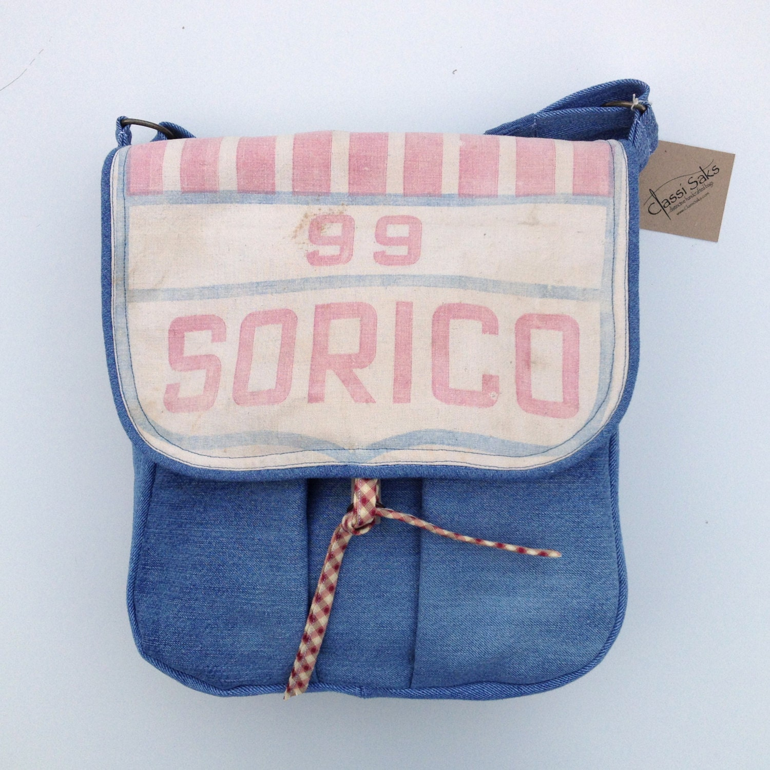 Repurposed  Blue Denim & Vintage Grain Sack Messenger Bag