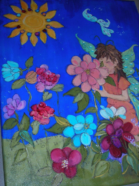 Fairy Wall Art Original Acrylic Children's painting 20x16 Kids wall art of Garden Fairy