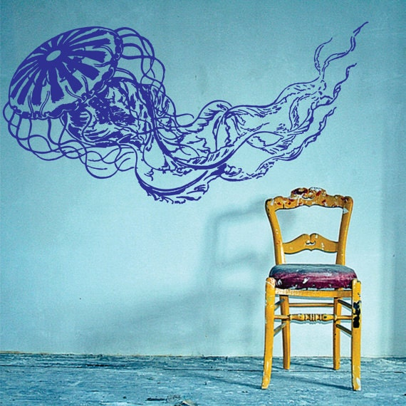 Jellyfish decal sticker wall art graphic fish ocean by for Diving and fishing mural