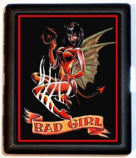 Winged Devil Girl Tattoo BAD Girl Riot Punk Black Metal Cigarette or ID or