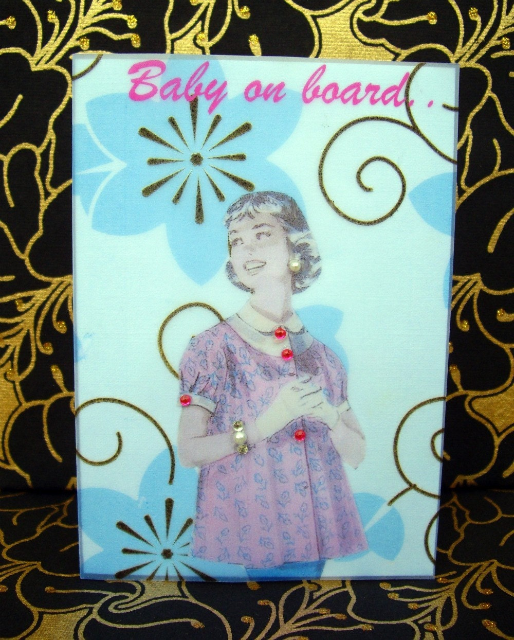 Betty Card / Baby on board / Vintage Printed Collection / Maternity 50s Glamour Girl / Handmade Greeting Card