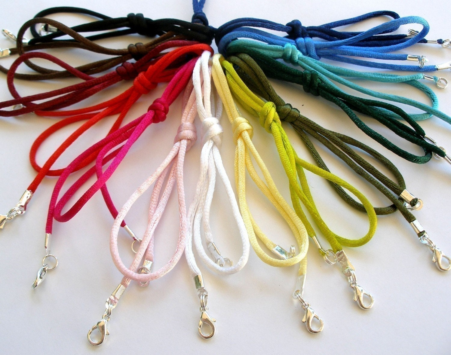 12pc Necklace Cords Rattail  Any Length, 21 Colors - Fits Scrabble/Glass Tile Pendants all Aanraku bails - Handmade in USA