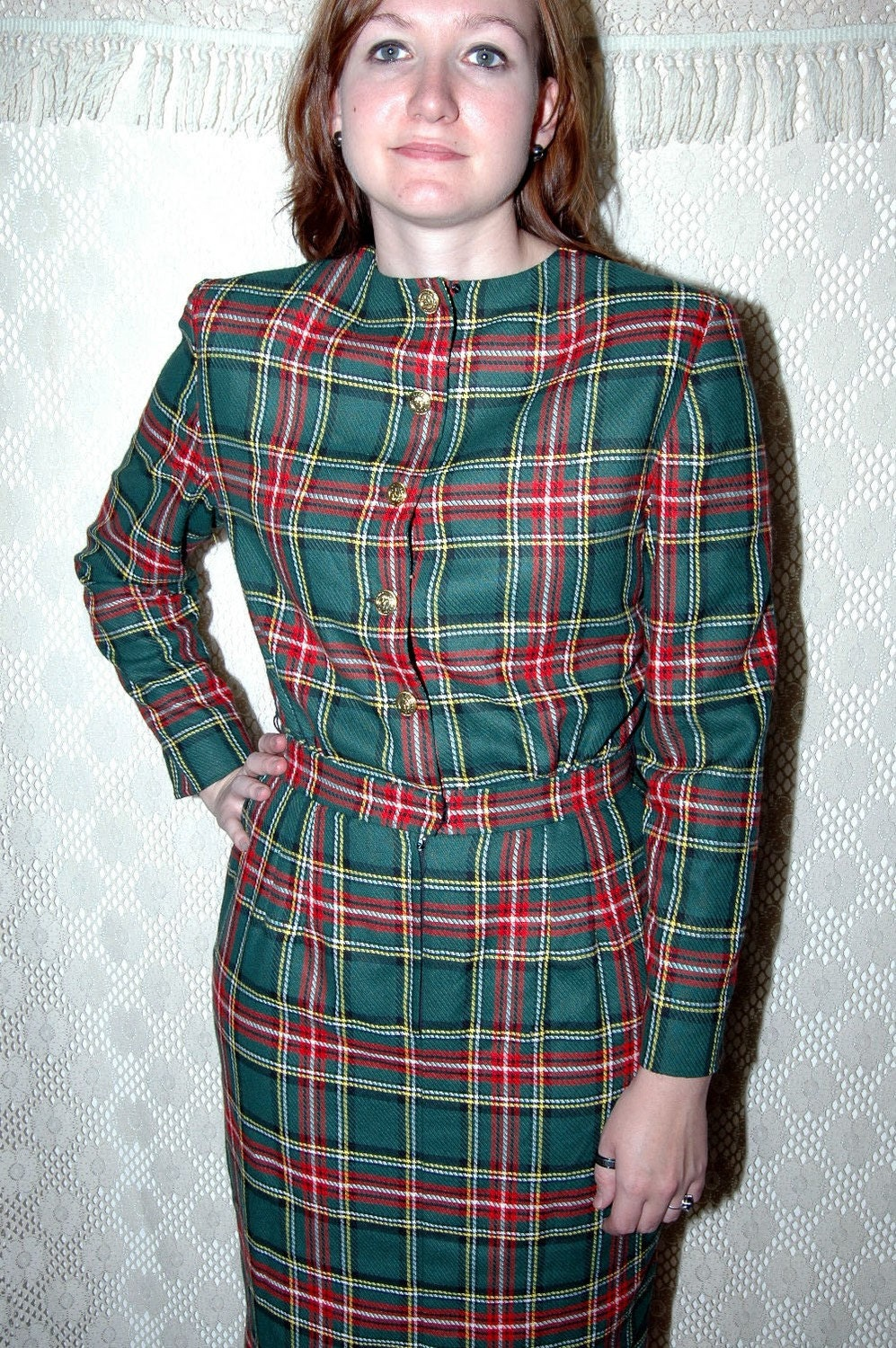Nos Talbots Tartan Plaid Vintage Dress 14 Multi color plaid Fringe Front