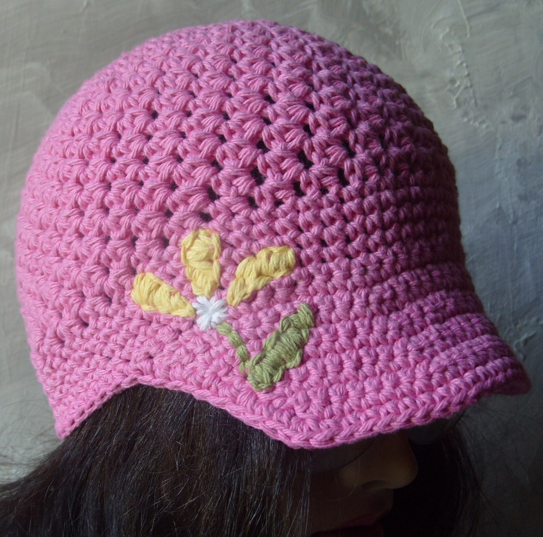 Brimmed Beanie/Newsboy Hat w/Hand Embroidered Flower - PINK