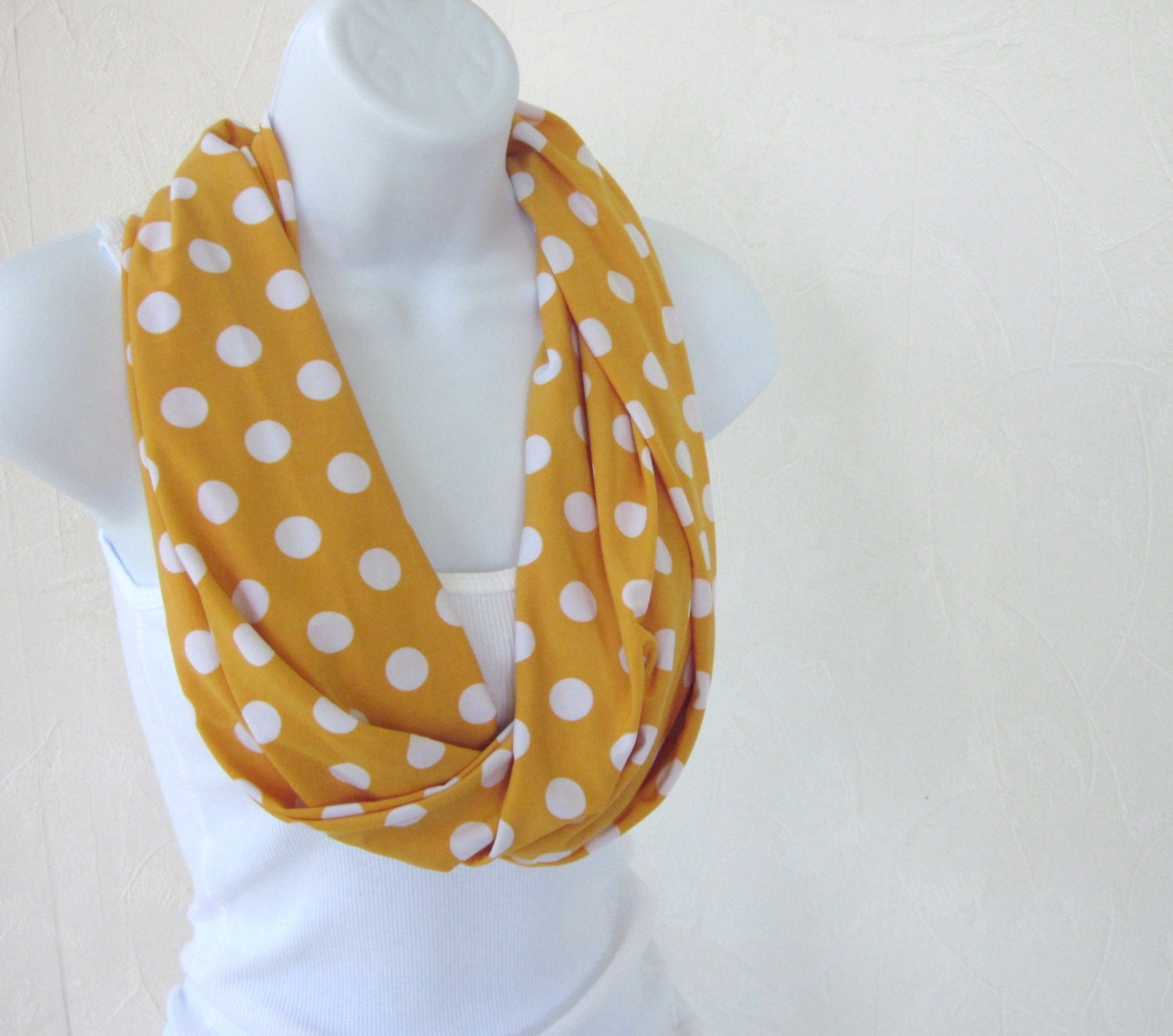 Polka Dot Infinity Scarf Golden Maize Yellow Jersey Knit Single Loop Scarf Summer Fashion Handmade by Thimbledoodle - thimbledoodle