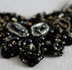 Black  Victorian, embroidered Lace Necklace
