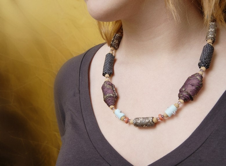 Long summer evening- Reused materials, One-of-a-Kind, fiber necklace, eco friendly
