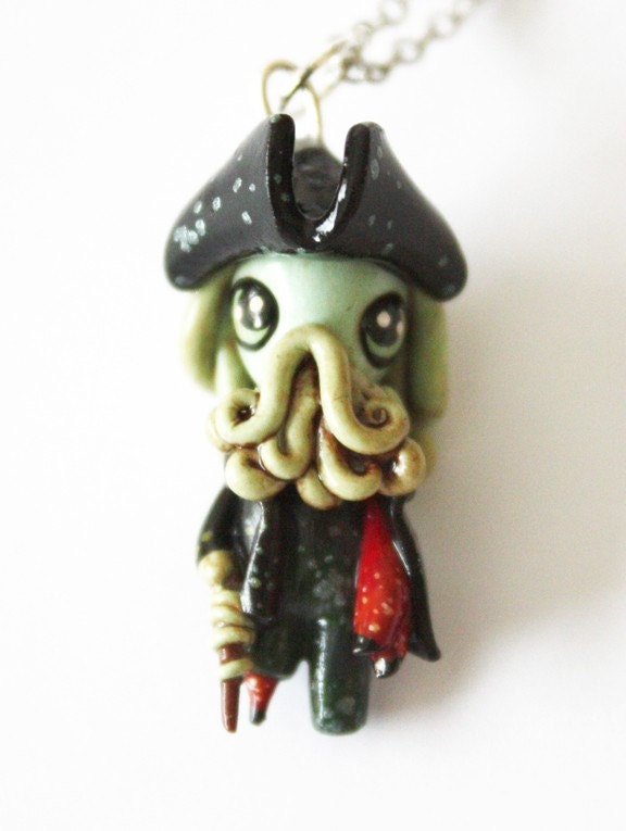 FREE SHIPPING - Davy Jones - Pirates of the Caribbean - Miniature Sculpture - Charm Necklace