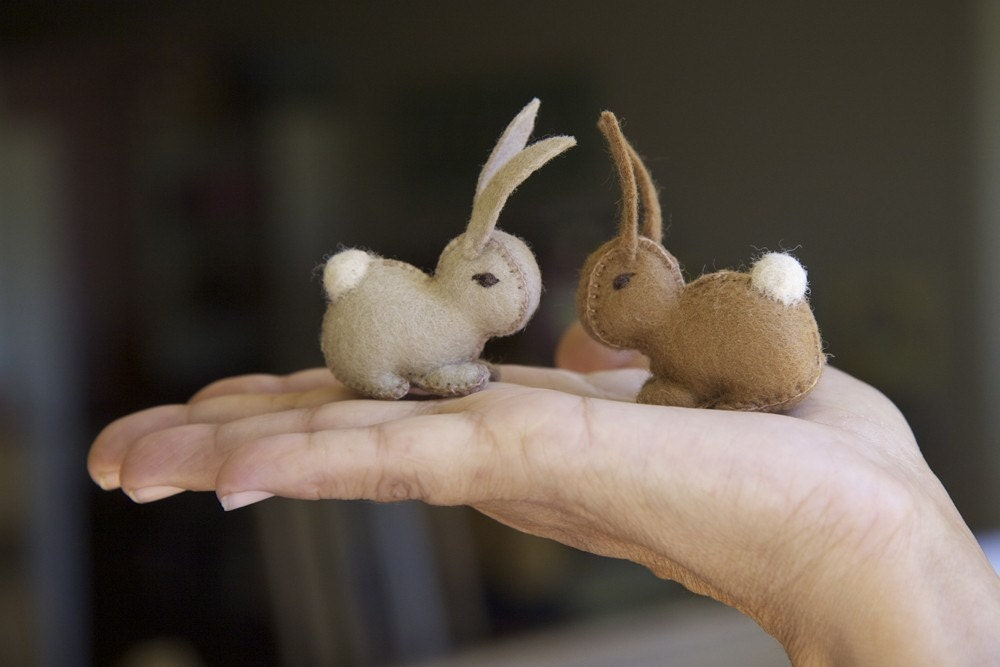 Wool Felt Eco Friendly Bunny by Julie Blanchette on Etsy